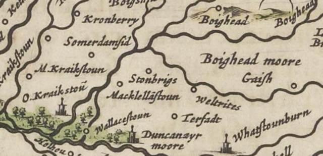 Blaeu Atlus Novus Courtesy of National Library of Scotland - Cronberry & Duncanziemuir