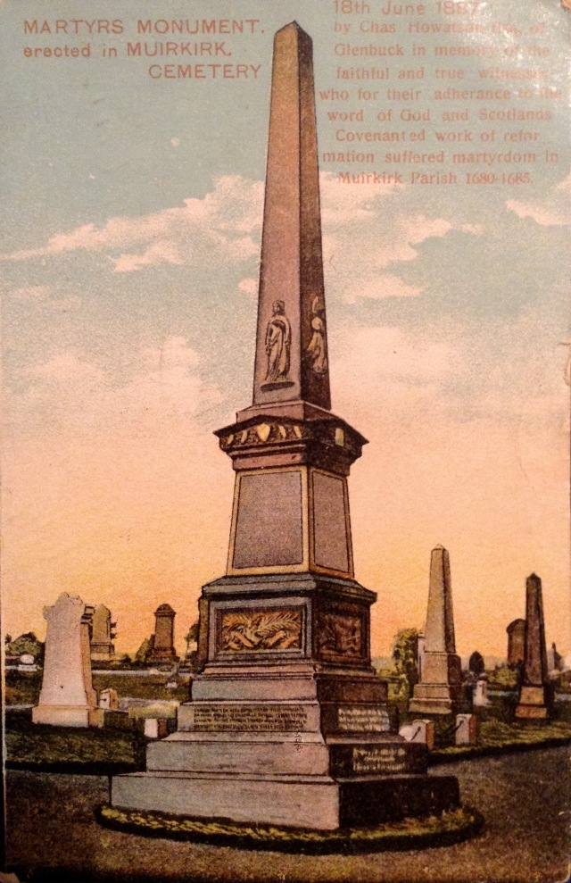 Covenanters Memorial Muirkirk Cemetery, erected by Charles Howatson