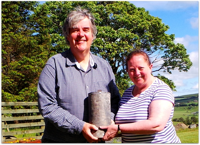 Bobby Guthrie and the Reverend Helen Cuthbert with the time capsule